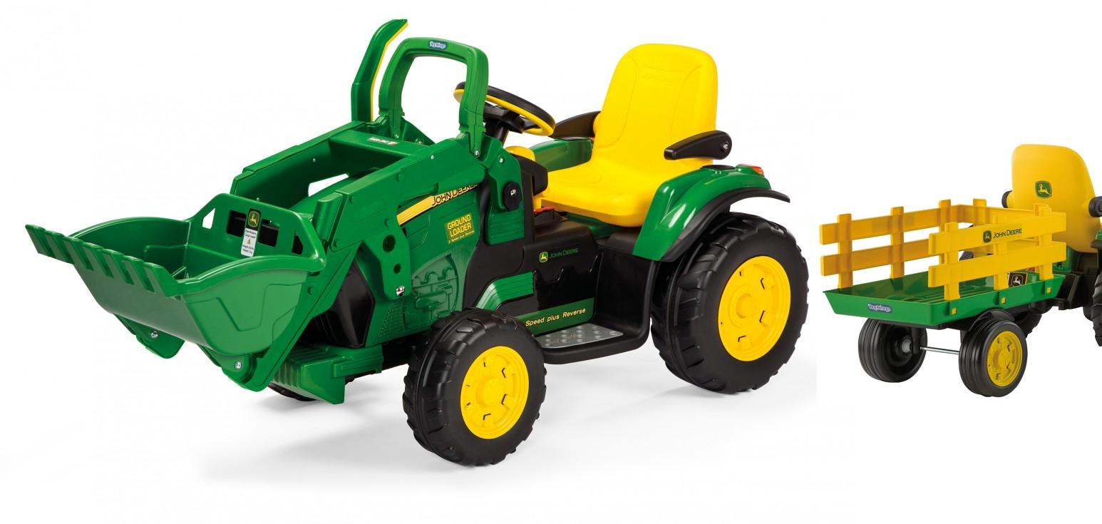 12v peg perego john deere ground loader elektro traktor mit anh nger und 2 akkus kinderauto. Black Bedroom Furniture Sets. Home Design Ideas