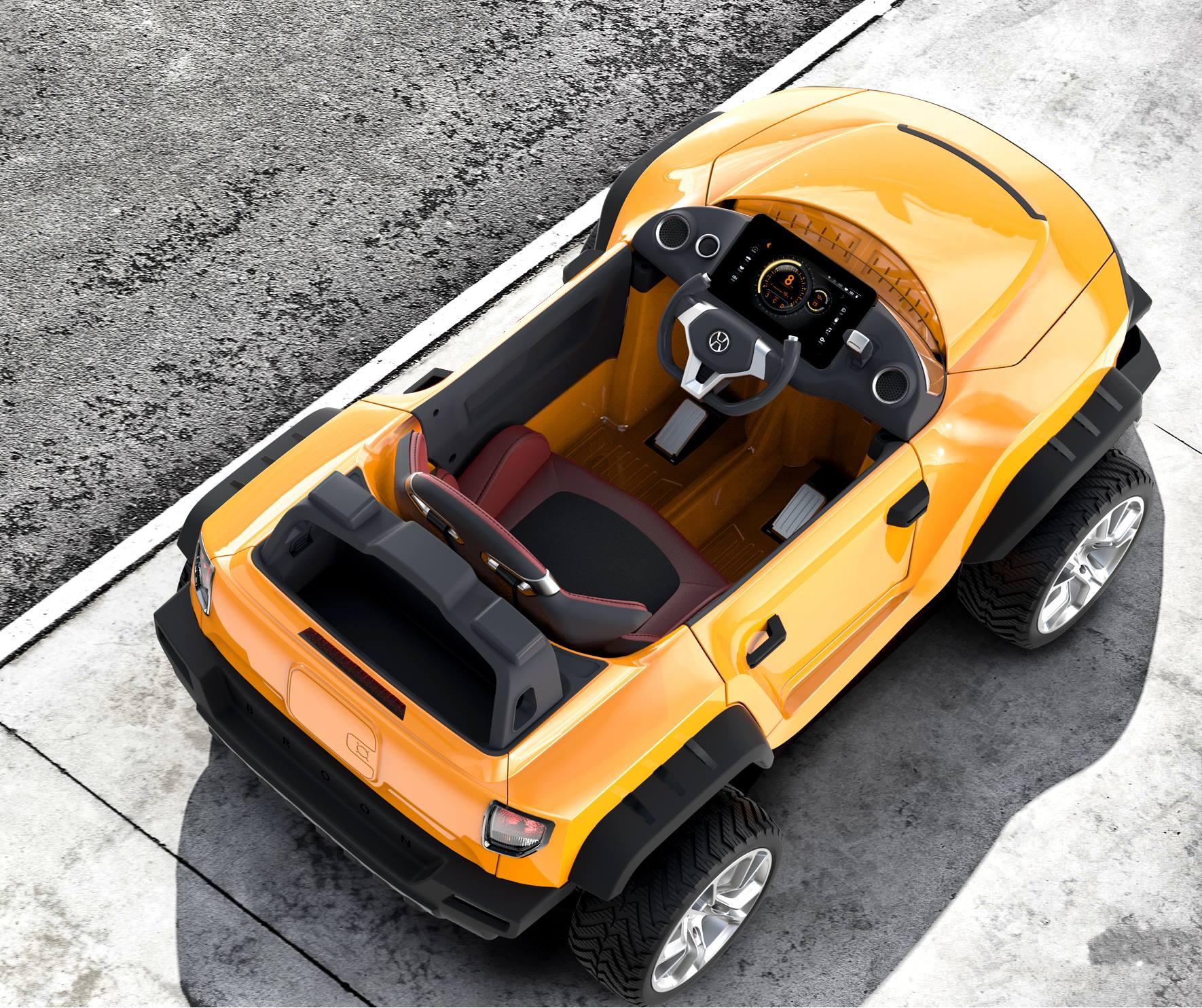 henes broon t870 orange luxus kinder elektro auto allrad. Black Bedroom Furniture Sets. Home Design Ideas